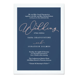 Blush & Navy Calligraphy Wedding Invitation