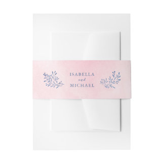 Blush navy rustic floral wedding invitation belly band