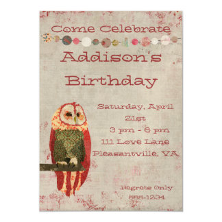 Blush Owl  Birthday Invitation