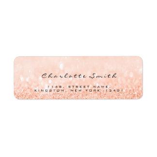 Blush Peach  Glitter RSVP Return Address Labels