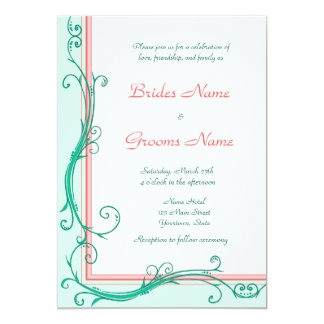 Blush Peach & Mint  Wedding Invitation
