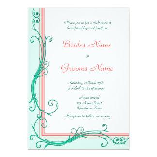 Blush Peach & Mint  Wedding Invitation