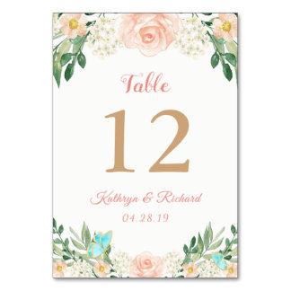 Blush Peach Rose Garden Wedding Table Number Card