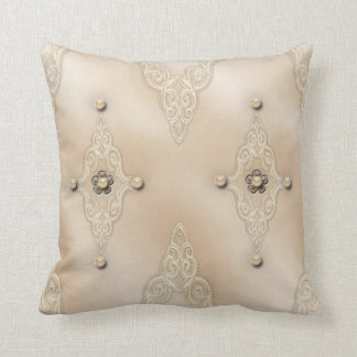 Blush Pillow with Lace and Pearl Design