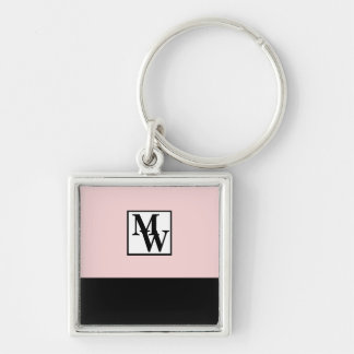 Blush Pink and Black Chic Personalized Monogram Keychain