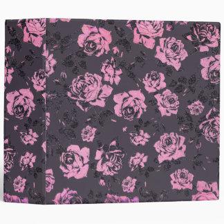 Blush Pink and Black Floral Print Rustic Roses 3 Ring Binder