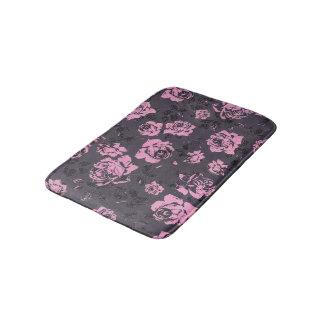 Blush Pink and Black Floral Print Rustic Roses Bath Mat