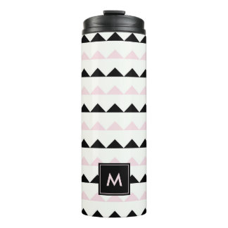 Blush Pink and Black Geometric Triangles Pattern Thermal Tumbler