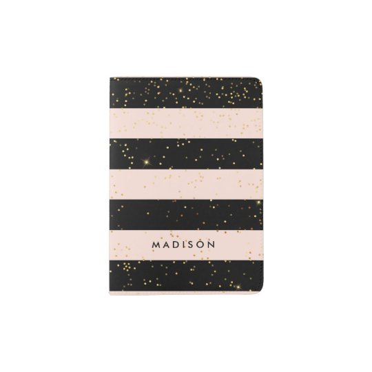 Blush Pink and Black Stripes | Faux Gold Confetti Passport Holder
