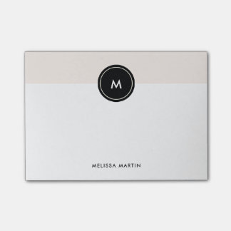 Blush Pink and Black with Monogram Post-it® Notes