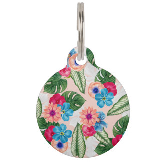 Blush Pink and Blue Watercolor Jungle Flowers Pet Name Tags