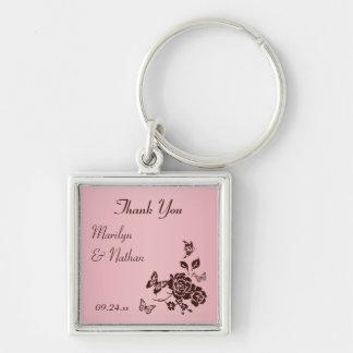 Blush Pink and Brown Floral Premium Wedding Favor Keychains