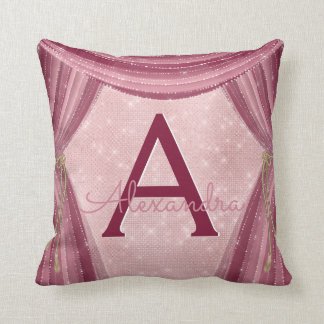 Blush Pink and Burgundy Curtains Monogram Name Throw Pillow