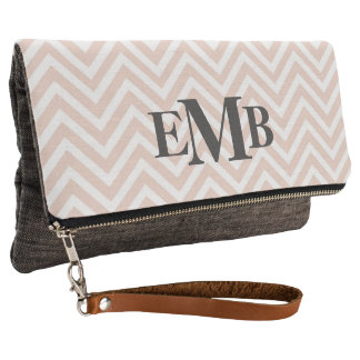 Blush Pink And Charcoal Chevron Clutch
