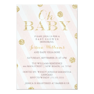 Blush Pink and Gold Baby Shower Invitations