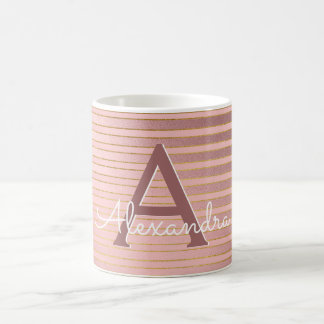 Blush Pink and Gold Foil Stripe Monogram Name Coffee Mug