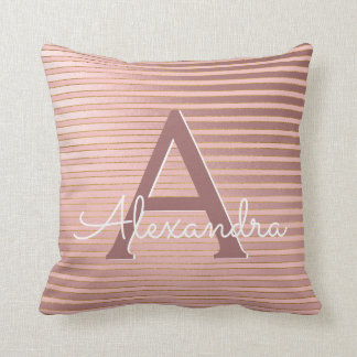 Blush Pink and Gold Foil Stripe Monogram Name Throw Pillow