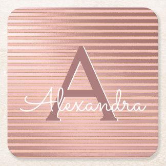Blush Pink and Gold Foil Stripes Monogram Birthday Square Paper Coaster