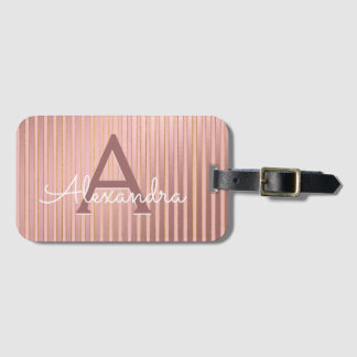 Blush Pink and Gold Foil Stripes Monogram Travel Luggage Tag