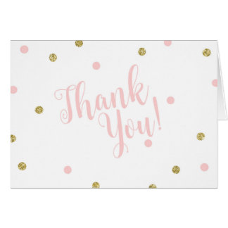 Blush Pink and Gold Glitter Thank You Cards