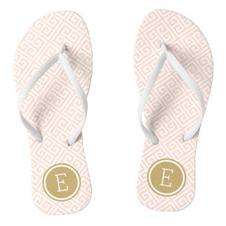 Blush Pink and Gold Greek Key Monogram Flip Flops