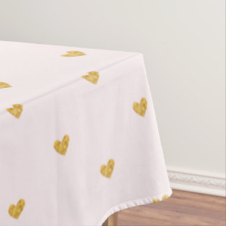 Blush Pink and Gold Hearts Tablecloth