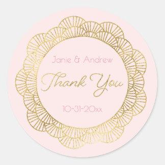 Blush Pink and Gold Mandala Thank You Round Sticker