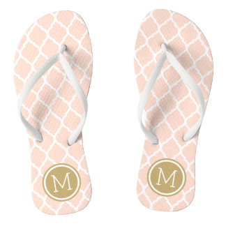 Blush Pink and Gold Moroccan Quatrefoil Monogram Flip Flops