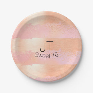 Blush Pink and Gold Personalized Paper Plate 7 Inch Paper Plate