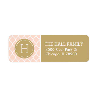 Blush Pink and Gold Quatrefoil Monogram Return Address Label