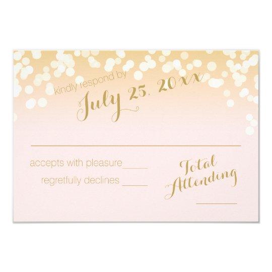 Blush Pink and Gold Sparkle Lights RSVP Card