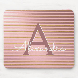 Blush Pink and Gold Stripes Girly Monogram Name Mouse Pad