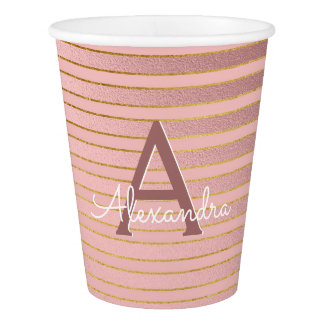 Blush Pink and Gold Stripes Monogram Birthday Paper Cup