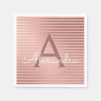 Blush Pink and Gold Stripes Monogram Birthday Paper Napkin