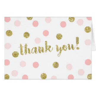 Blush Pink and Gold Thank You Cards