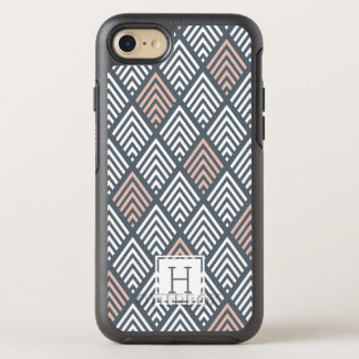Blush Pink and Gray Chevron Diamond Monogram OtterBox Symmetry iPhone 7 Case