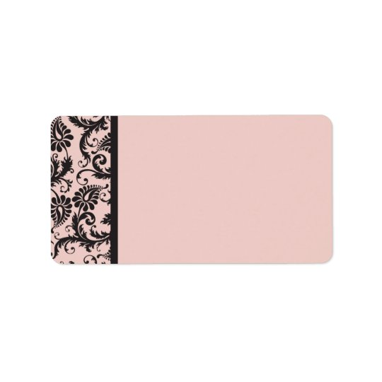 Blush Pink and Grey Damask Address Label Blank