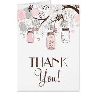 Blush Pink and Grey Mason Jars Thank You Card