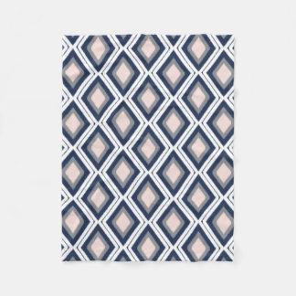 Blush Pink and Navy Diamond Ikat Pattern Fleece Blanket