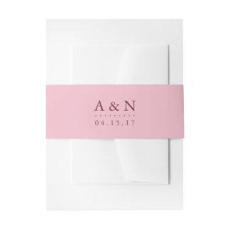 Blush Pink and Plum Wedding Monogram Invitation Belly Band