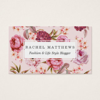 Blush Pink and Red Watercolor Floral Roses Business Card