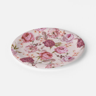 Blush Pink and Red Watercolor Floral Roses Paper Plate