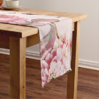 Blush Pink and Red Watercolor Floral Roses Short Table Runner