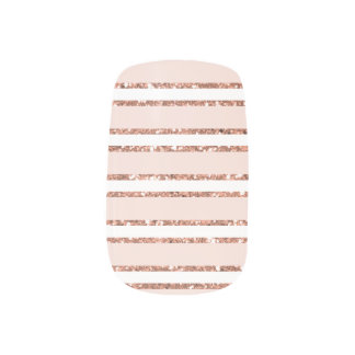Blush Pink and Rose Gold Glitter Metallic Stripes Minx Nail Art