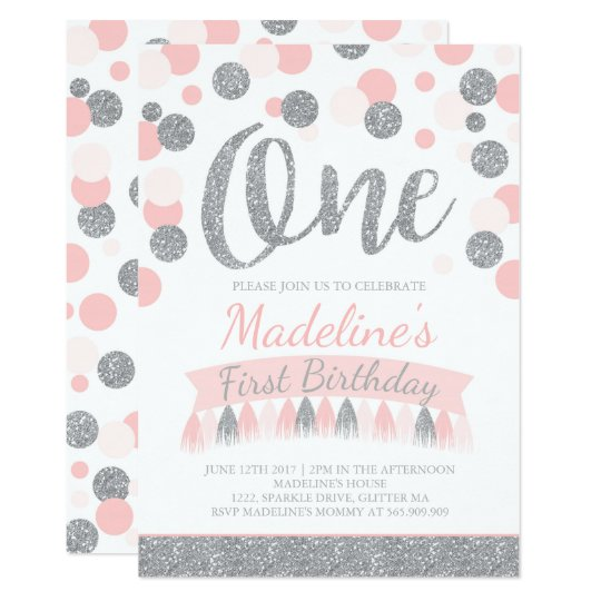 Blush Pink And Silver 1st Birthday Invitation