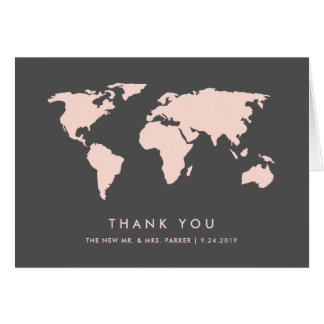 Blush Pink and Smoky Gray | World Map Thank You Card