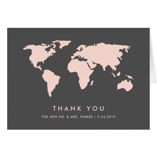 Blush Pink and Smoky Grey | World Map Thank You Card