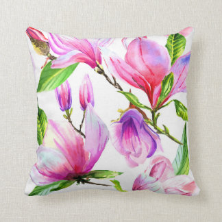 Blush pink and violet watercolor magnolia flowers throw pillow