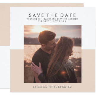 Blush Pink and White Minimal Save the Date | Photo Card