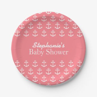 Blush Pink and White Nautical Anchor Baby Shower Paper Plate